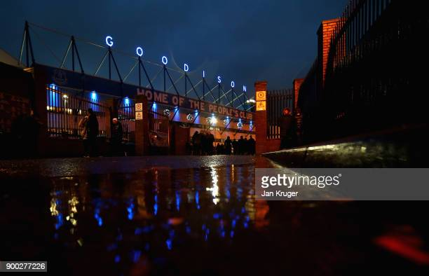 A view outside the stadium as fans start to arrive prior to the Premier League match between Everton and Manchester United at Goodison Park on...