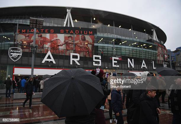 A view outside the stadium before the Premier League match between Arsenal and Crystal Palace at Emirates Stadium on January 1 2017 in London England