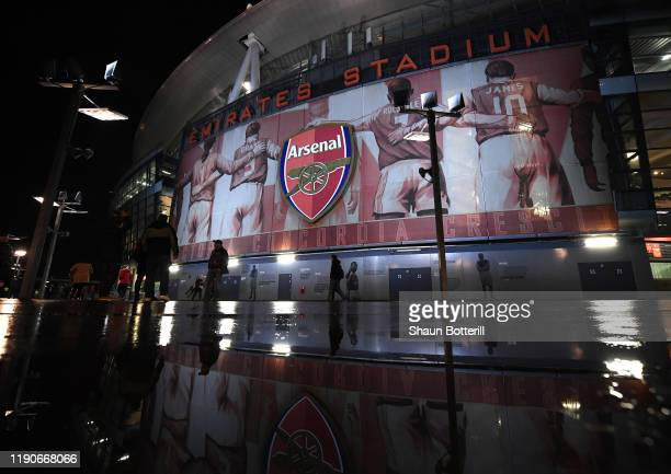 View outside the stadium before the UEFA Europa League group F match between Arsenal FC and Eintracht Frankfurt at Emirates Stadium on November 28,...
