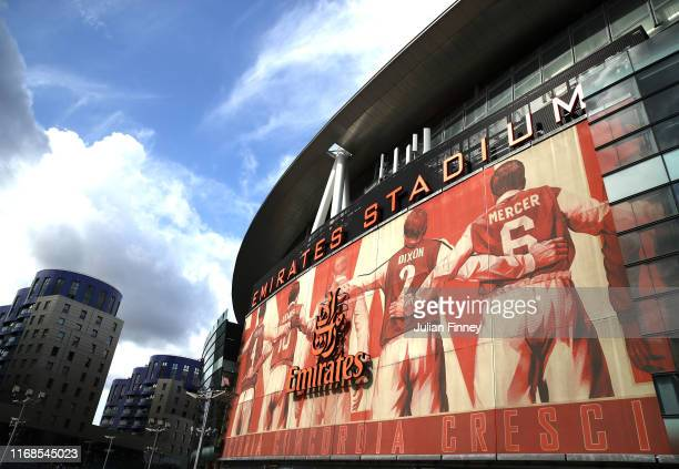View outside the stadium during the Premier League match between Arsenal FC and Burnley FC at Emirates Stadium on August 17, 2019 in London, United...