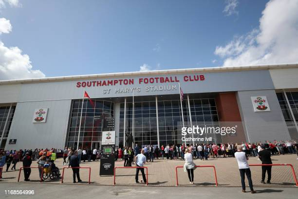 View outside the stadium during the Premier League match between Southampton FC and Liverpool FC at St Mary's Stadium on August 17, 2019 in...