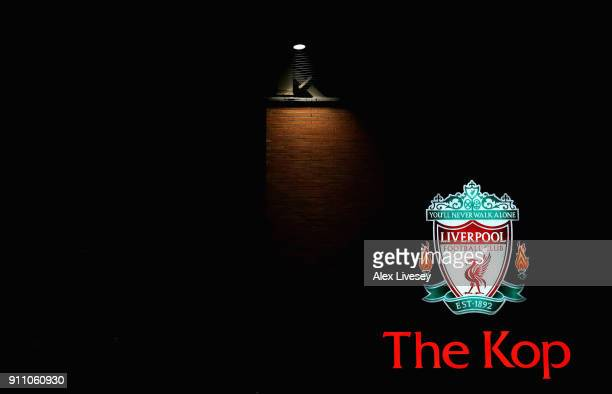 A view outside the stadium prior to The Emirates FA Cup Fourth Round match between Liverpool and West Bromwich Albion at Anfield on January 27 2018...