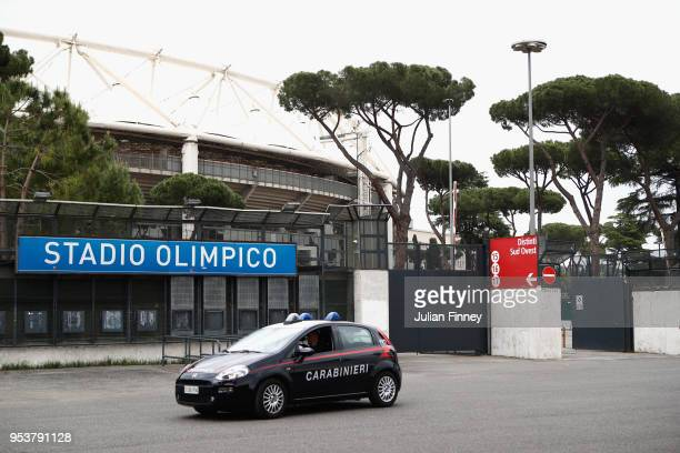 A view outside the stadium prior to the UEFA Champions League Semi Final Second Leg match between AS Roma and Liverpool at Stadio Olimpico on May 2...