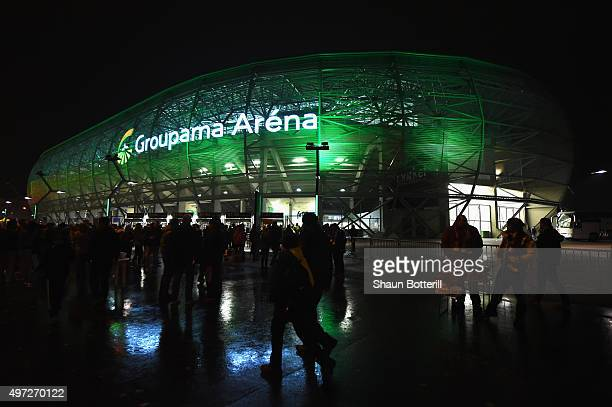 View outside the stadium the UEFA EURO 2016 qualifier play-off second leg match between Hungary and Norway at Groupama Arena on November 15, 2015 in...
