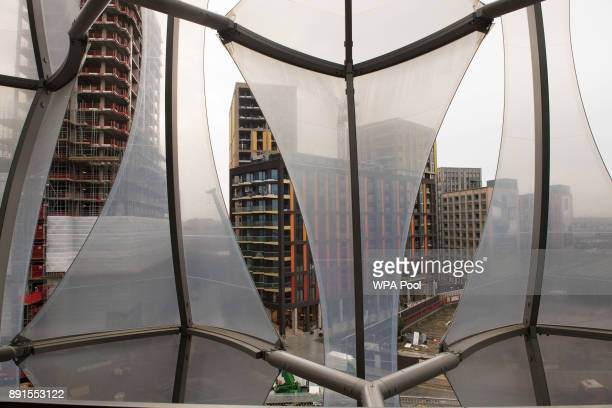 A view outside the windows prior to the unveiling of the new US Embassy building in Nine Elms in Wandsworth on December 13 2017 in London England The...