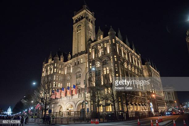 A view outside Trump International Hotel Washington DC one day before the inaguration of Donald Trump January 19 2017 in Washington DC Hundreds of...