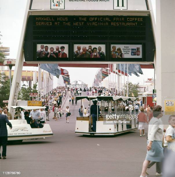 View over a footbridge across the Long Island Expressway at the World's Fair in Flushing Meadows Park in Queens New York New York June 1965 Among the...