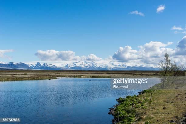View over a lake towards Oraefajokull