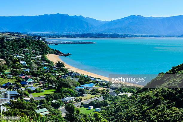 View over a long sandy beach at the Abel Tasman National Park, South Island, New Zealand, Pacific