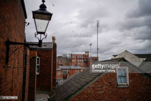 View over a near deserted Stockport during the pandemic lockdown and the closure of shops, restaurants and businesses on April 01, 2020 in Stockport,...
