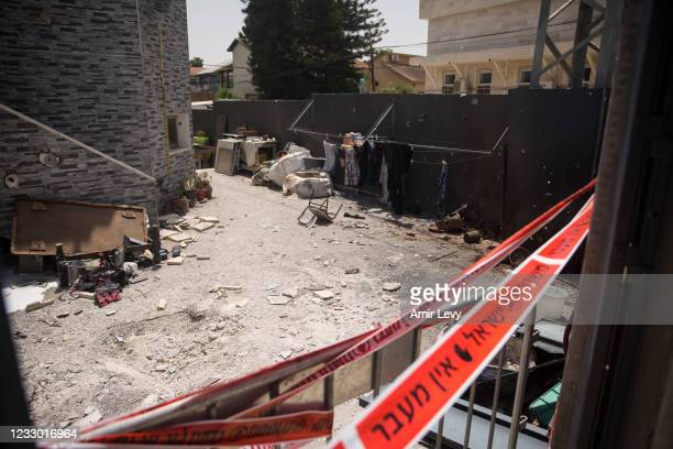 View over a synagogue that was hit by a rocket fired from the Gaza Strip earlier this week on May 21, 2021 in Zikim, Israel. Yesterday, Israel's...