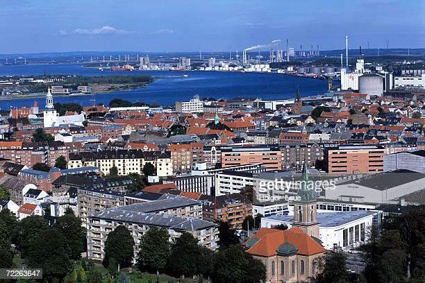 View over Aalborg from Aalborgtarnet Tower, Aalborg, Denmark