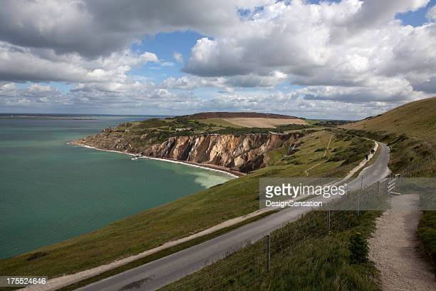 view over alum bay, isle of white (xxxl) - isle of wight stock pictures, royalty-free photos & images