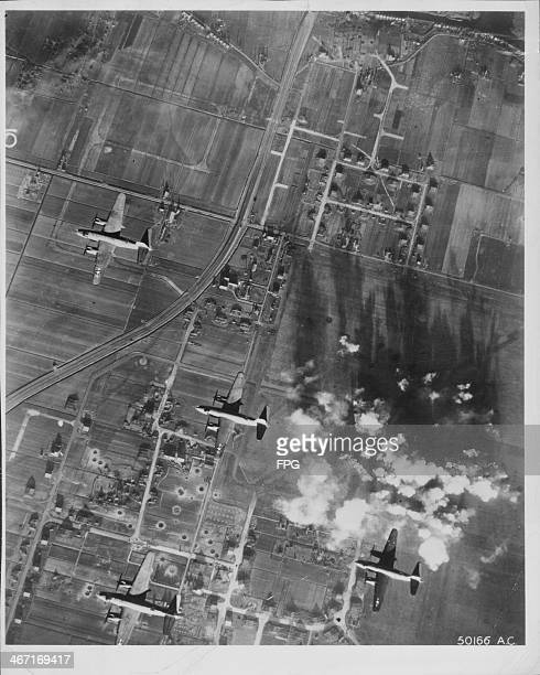 A view over Amsterdam and the bombing of Schiphol Airfield seen from a Marauder B26 bomber of the US Ninth Air Force World War Two Netherlands circa...