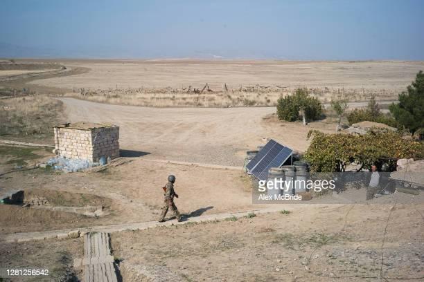 View over an Armenian frontline posting on October 20, 2020 near Aghdam, Nagorno-Karabakh. As the war over control of Nagorno-Karabakh intensifies,...