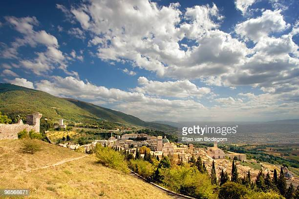 view over assisi - perugia stock pictures, royalty-free photos & images