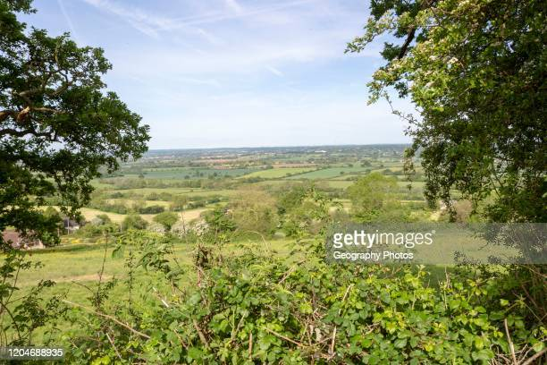 View over Avon valley from Bremhill looking west near Chippenham Wiltshire England UK