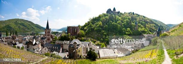 View over Bacharach in front of Burg Schadeck Castle, Mainz-Bingen district, Rhineland-Palatinate, Germany