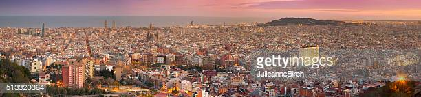 View over Barcelona at sundown