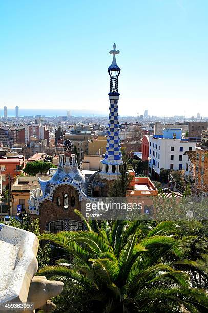 View over Barcelona from Guell Park on sunny day