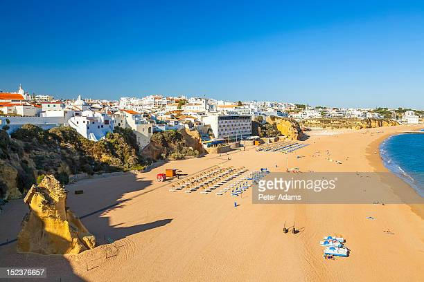 view over beach in albufeira, algarve, portugal - albufeira stock pictures, royalty-free photos & images