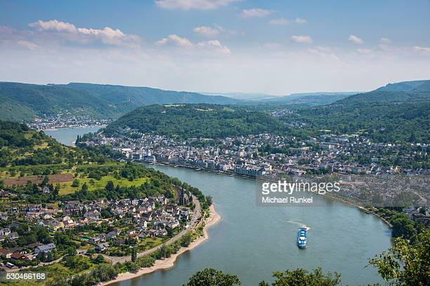 View over Boppard and the River Rhine from Vierseenblick, Rhine Valley, UNESCO World Heritage Site, Rhineland-Palatinate, Germany, Europe
