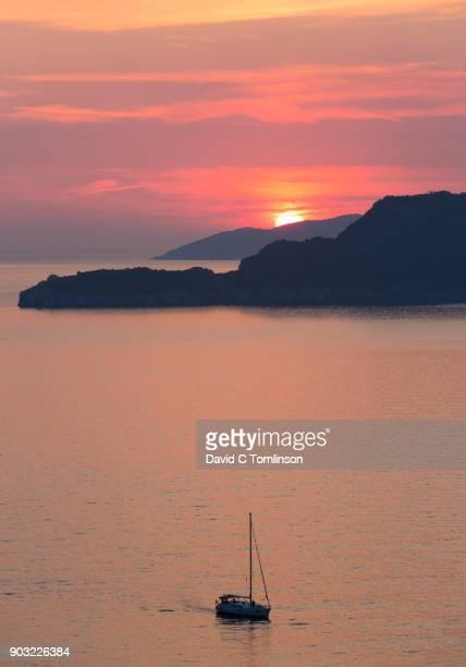 View over Budva Bay at sunset, Sveti Stefan, Budva, Montenegro