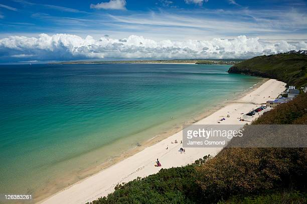 a view over carbis bay near st ives in cornwall. - カービス・ベイ ストックフォトと画像