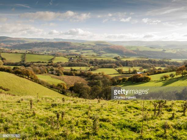 view over Carmarthenshire and Towy Valley to the Brecon Beacons. The Cambrian Way, Wales, UK