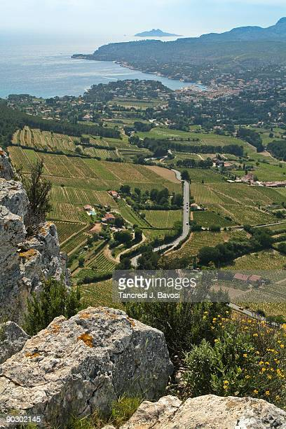view over cassis provence france - bavosi stock pictures, royalty-free photos & images
