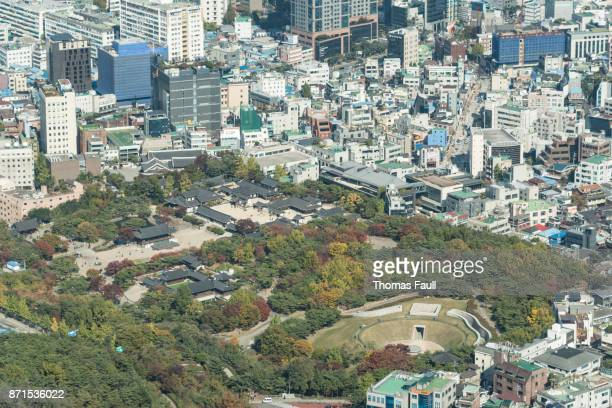 View over city and Royal Palace of Seoul in South Korea