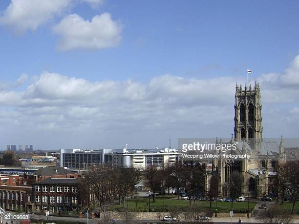 view over doncaster - minster stock photos and pictures