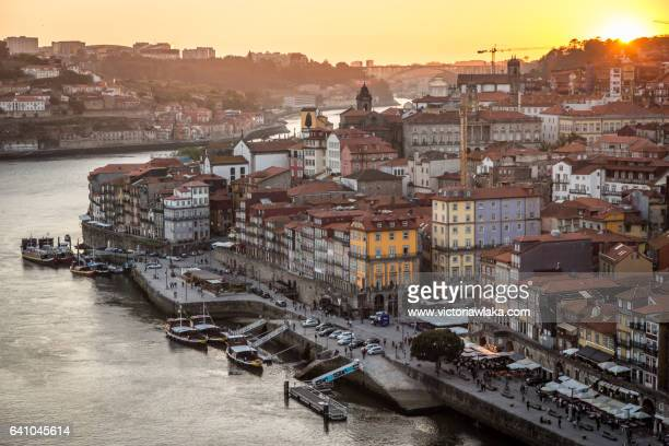 View over Douro river and Oporto city from Ponte Luis I during sunset