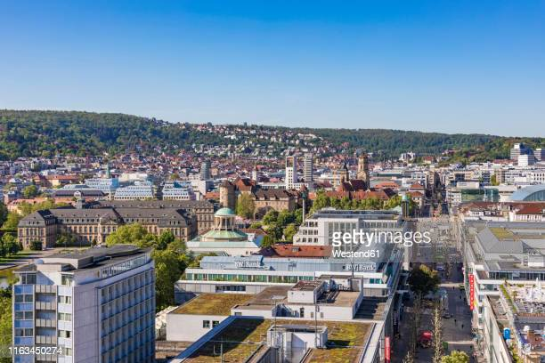 view over downtown stuttgart with koenigstrasse, germany - stuttgart stock pictures, royalty-free photos & images