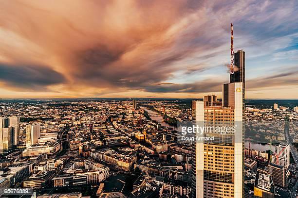 View over Frankfurt at sunset