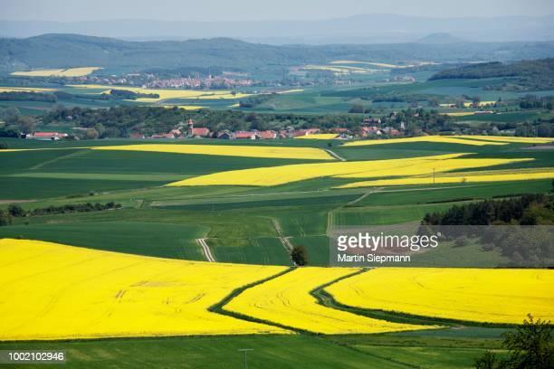 View over Grabfeld near Bad Koenigshofen, Hassberg Range, Rhoen-Grabfeld, Lower Franconia, Bavaria, Germany