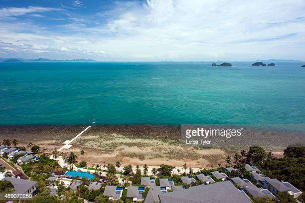 View over guest villas and the sea from the lobby of the Conrad Koh Samui Thailand