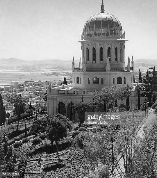 A view over Haifa with the Bahai Temple in the foreground by Claude Jacoby