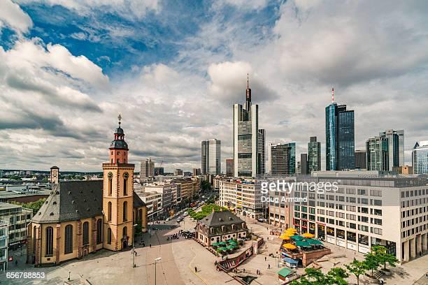 view over hauptwache in frankfurt, germany - 時計台 ストックフォトと画像
