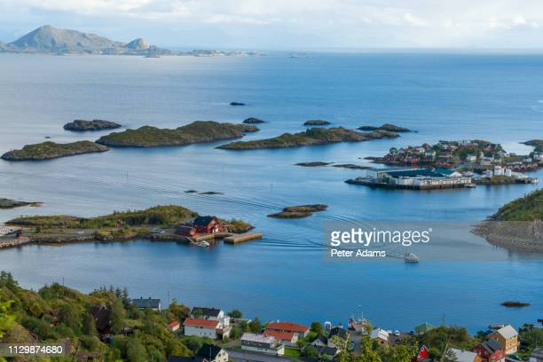 view over henningsvaer and islands, austvagoy, norway - peter adams stock pictures, royalty-free photos & images
