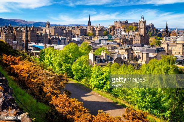 view over historic edinburgh from calton hill, scotland, uk - edinburgh castle stock pictures, royalty-free photos & images