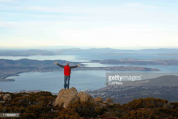view over hobart from mount wellington - hobart tasmania stock pictures, royalty-free photos & images
