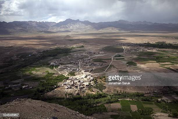 A view over Jaghatu District during a patrol by US soldier from the 3rd Brigade 10th Mountain Division May 21 2009 in Jaghatu District Wardak...