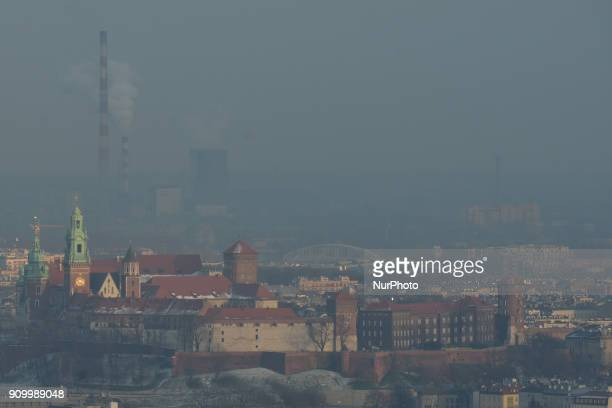 A view over Krakow's Wawel Castle and Nowa Huta in the background seen from Kosciuszko Mound during a smog alert on January 24 as the air pollution...