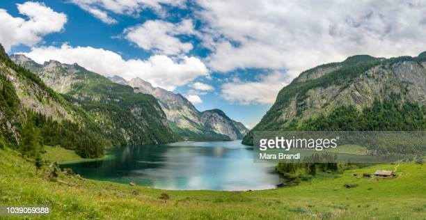 View over lake Koenigssee from the Salet Alm, Berchtesgaden National Park, Berchtesgadener Land, Upper Bavaria, Bavaria, Germany