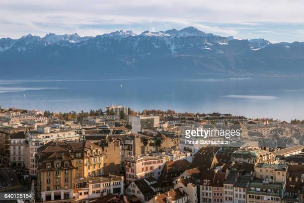 view over lausanne and lake geneva from the cathedral - lausanne stock pictures, royalty-free photos & images