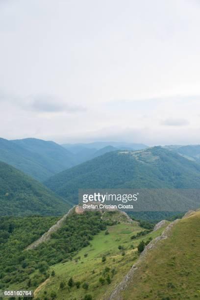 View over Liteni fortress ruins Transylvania