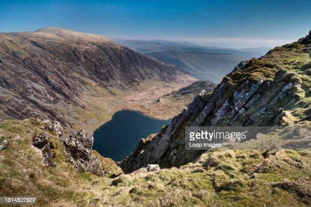 View over Llyn Cau and Mynydd Moel from Craig Cau high up on Cadair Idris in Snowdonia.