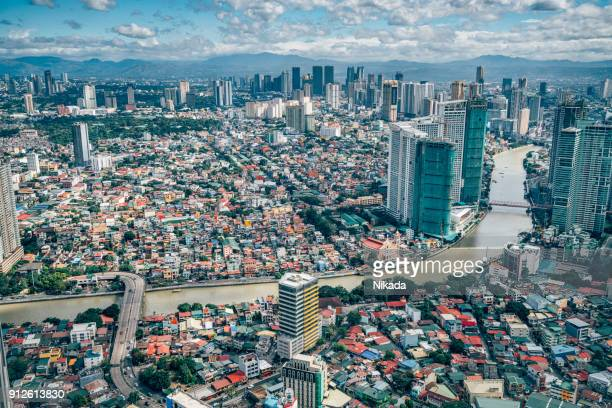 view over makati skyline, metro manila - philippines - manila philippines stock pictures, royalty-free photos & images