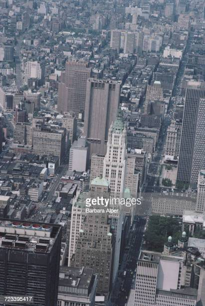 A view over Manhattan with the Woolworth Building at centre right New York City June 1984